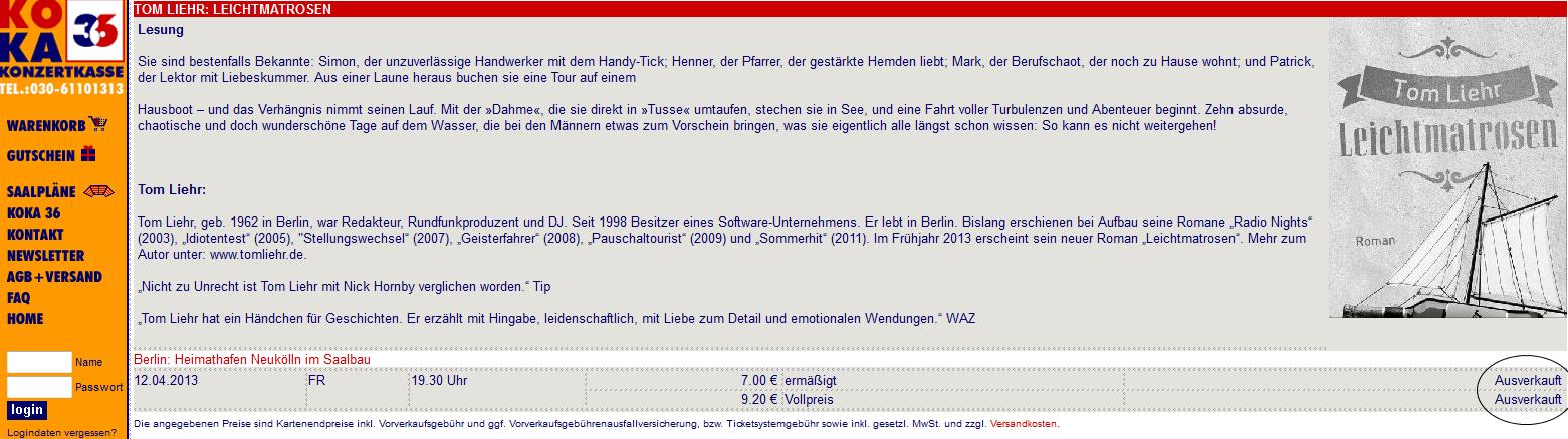 WebSite von Koka36, kurz vor der Buchpremiere